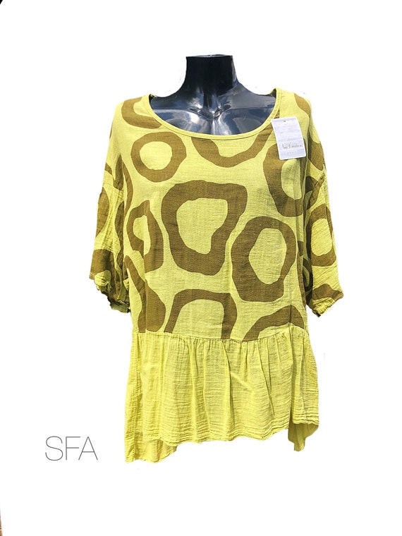 Lagenlook free flowing Tunic, in lime green and brown, 100% cotton, cheesecloth. One size fits all.