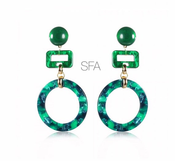 Lagenlook Geo green marbled effect acrylic earrings. With circles and rectangles. For pierced ears.