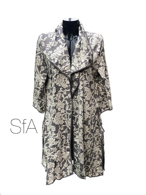 Lagenlook dress Coat, Duster, Paisley Print, Size 2XL,  Size 10-16 UK