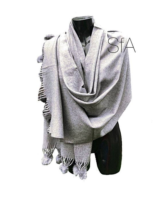 Lagenlook Long soft grey shawl or scarf with pompoms.