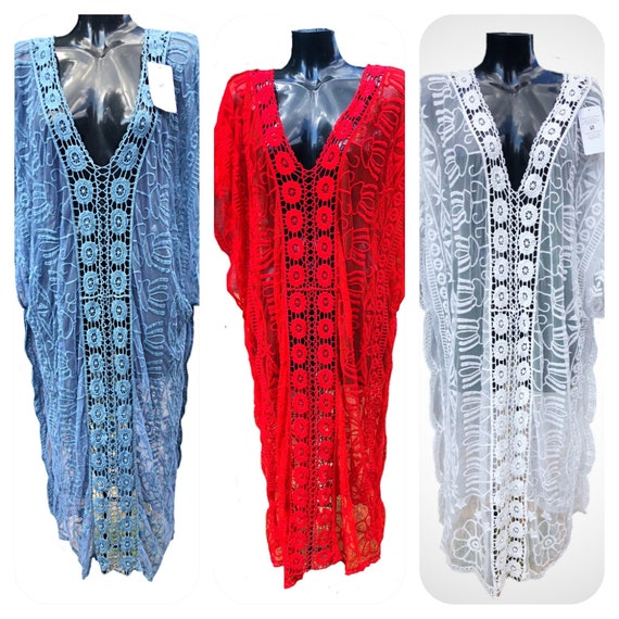 Fabulous maxi tunic, kaftan or beach dress, embriodered with batwinged sleeves and split sides, size 12-24 uk, made in Italy.
