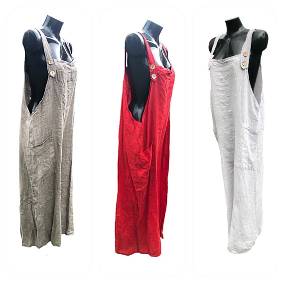 Lagenlook baggy linen dungarees, with adjustable button fasteners, drop sides.