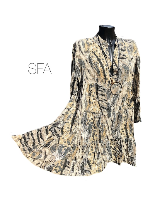 New season. Lagenlook animal print, layered smock blouse, tunic, top. In 4 different colours. Size 3XL