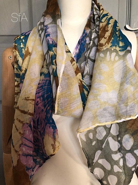 Shell, tie dye  scarf. Panel scarf.