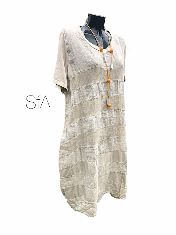 """Lagenlook, quirky linen panel and cotton dress, with tshirt sleeves, in 4 colours, 3XL, bust 48"""""""