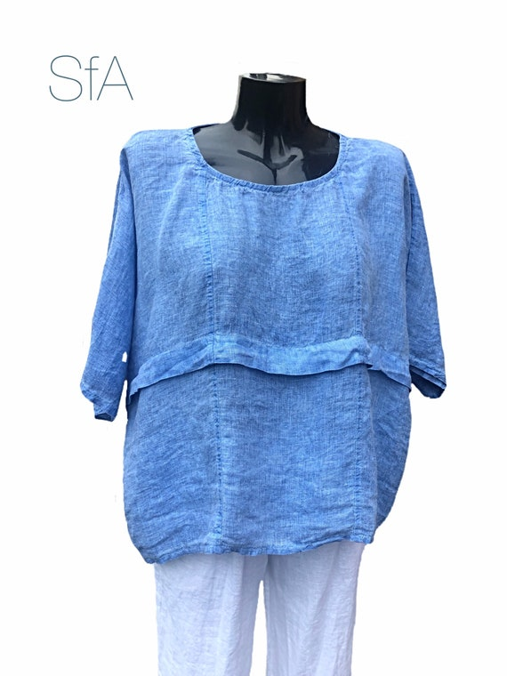 Lagenlook quirky plus size, linen tunic, in 3 different colours. Size 3XL.