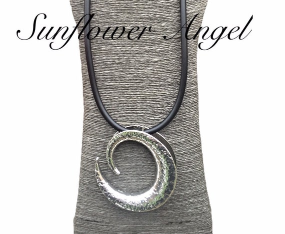 Lagenlook large spiral shell pendant, on thick rubber necklace