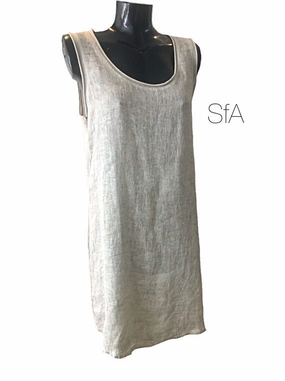 Lagenlook linen, cotton stretch back sleeveless dress, with stretch cotton back, in 4 colours, 10-14 UK