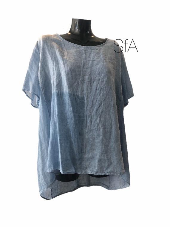 Lagenlook linen tunic, with soft cotton panel. Size XXXL