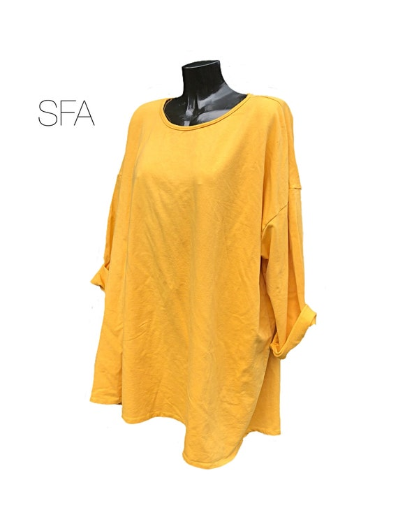 "Super baggy, comfy slouch, long sleeved thick cotton, tshirt, sweatshirt, in 5 different colours. Size  5XL 62"" bust."
