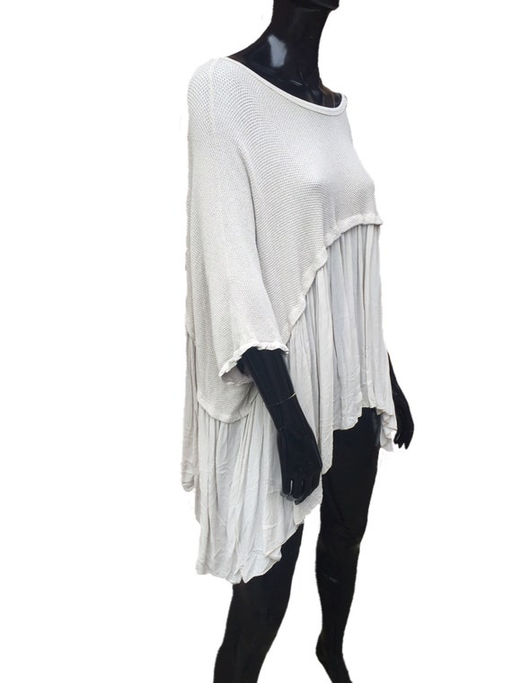 Lagenlook panel tunic, with frill, plus size in  white.
