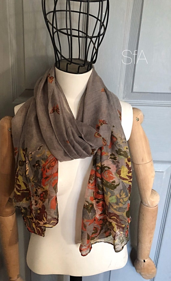 Floral butterfly scarf, tie dye  scarf. Panel scarf.