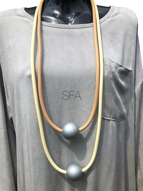 Lagenlook, geo, rubber long frosted silver ball necklace in grey and black or cream and honey beige