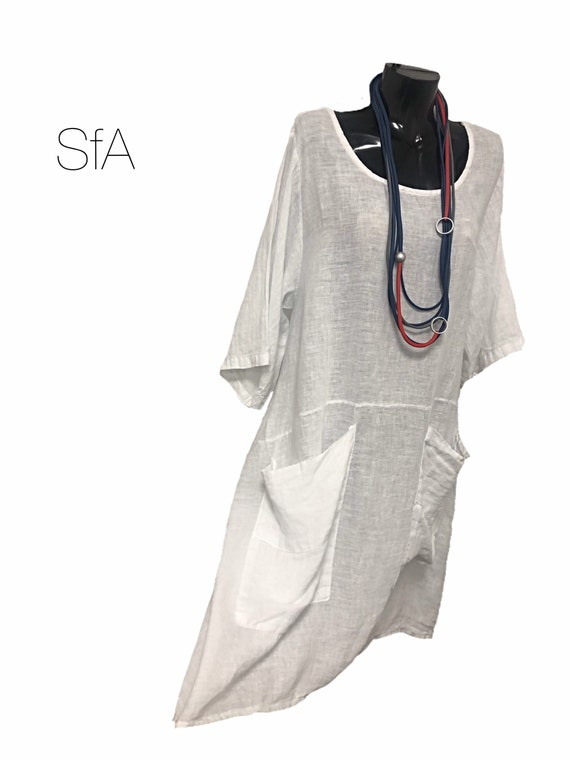 Lagenlook linen dress, with button detail and tie back, with front patch pockets.