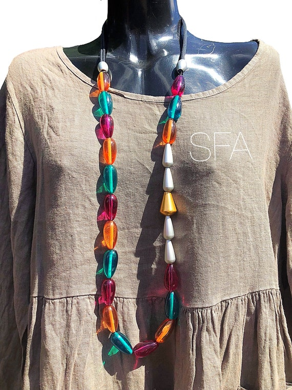 Lagenlook stunning multi coloured teardrop beaded necklace, on a twin cordthread.