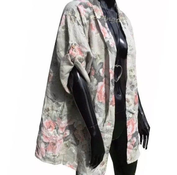 SALE Lagenlook rose linen jacket, in either white, beige or taupe. Size 12 14 16 18 20 22 XXXL, plus size