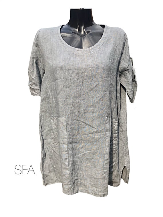 Lagenlook tunic, top. Mid grey tunic with hold up sleeves, and side pockets XXL