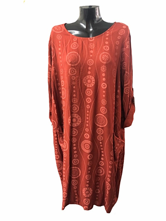 Lagenlook dress in viscose, 3 different colours, long sleeves. Size XL