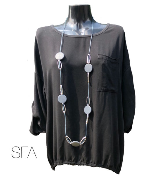 Lagenlook Stunning long sleeved tunic, blouse, top, with drawstring split bottom a the back, last one . XXL