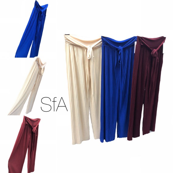 Pleated stretch trouser with tie band.. size, 8 10 12 14.