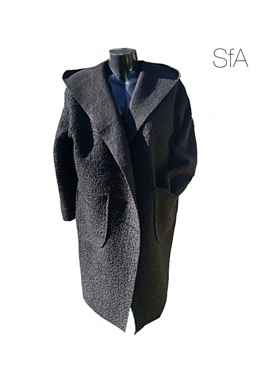 Boucle teddy bear coat. Long hooded Jacket. Size U.K.  10, 12, 14, 16, 18. SIze 2XL