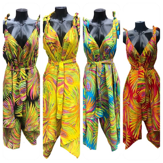 Colourful cullotte dress, either belted or left loose, 100% cotton, screen printed 4 colours size 12-26 Plus