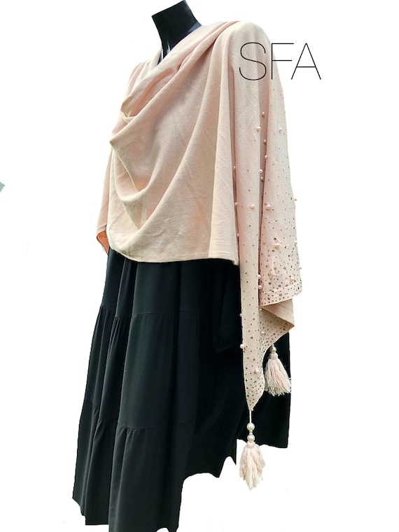 Beaded soft wool shawl, with beaded ends and tassle decoration. in 4 different colours.