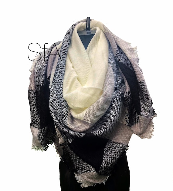 Navy blue, cream and black loose weave square scarf.
