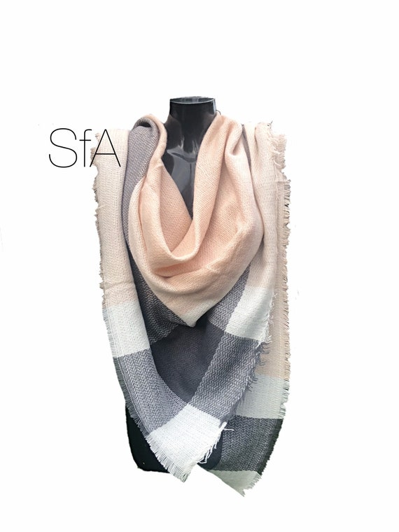 Pink and grey loose weave square scarf, very versitaille