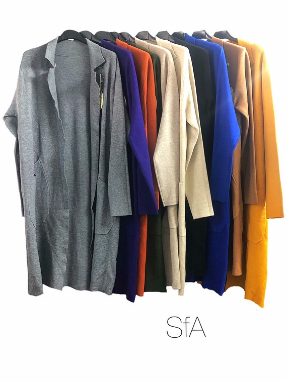 Long cardigan coat, heavy feel, in lots of different colours. Size XL  UK size 10, 12, 14, 16 18, 2XL