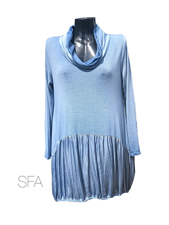 Lagenlook satin cowl neck dress or tunic with drawstring base. Mixed material, fine knitted body, satin cowl and skirt.
