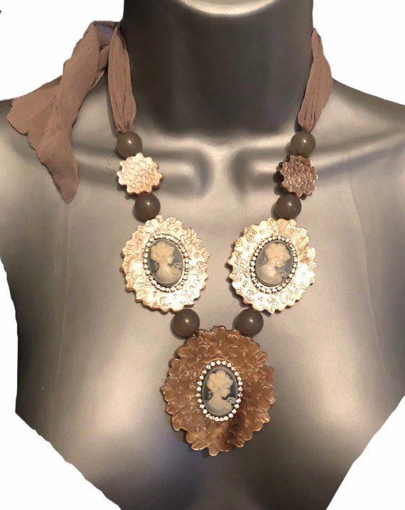 The  Camilla acrylic cameo necklace, with chiffon tie, in beiges, stunning statement piece.