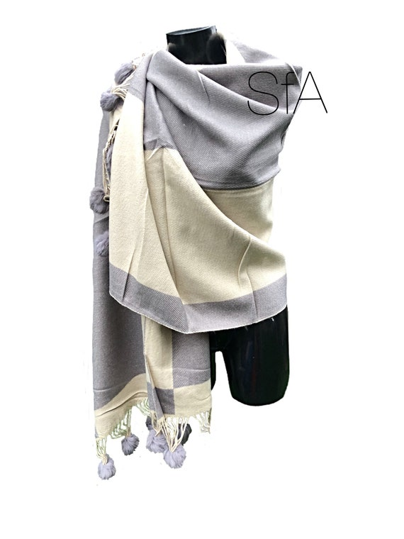 Lagenlook Long soft cream and grey shawl or scarf with pompoms.