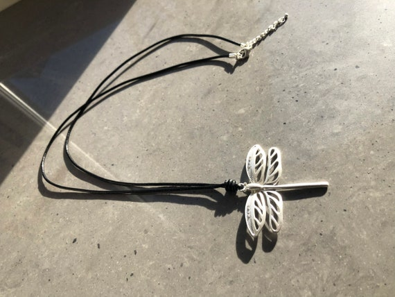 Lagenlook frosted silver or gold dragonfly, on long black leather thread, lobster clasp.