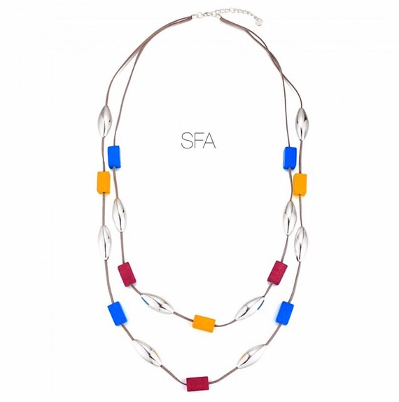 Lagenlook, double row of silver tubes and wooden colourful cubes necklace.