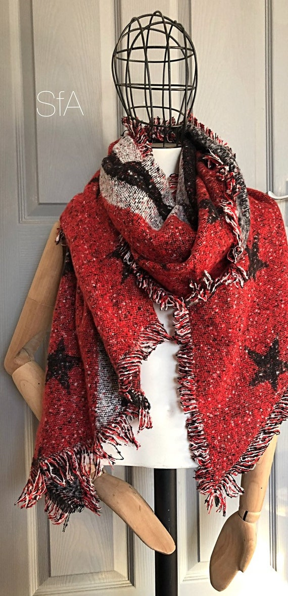 Fabulous unisex blanket scarf, super soft,  star scarves, perfect present. In 3 different colours. Red, black and mustard.