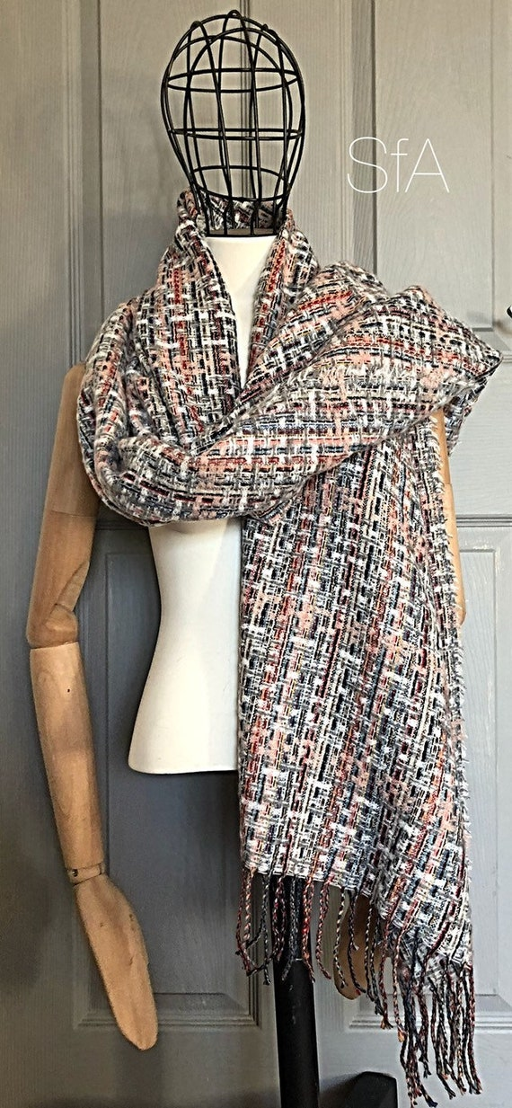 Multi coloured loose weave long panel, shawl, scarf. With tassels, very soft, fabulous mix if colours.