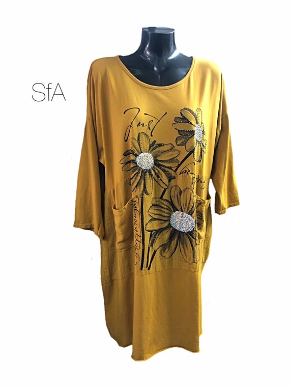 Stunning lagenlook sunflower dress, with grey swirls. Size 12, 14, 16, 18 20 size 3XL
