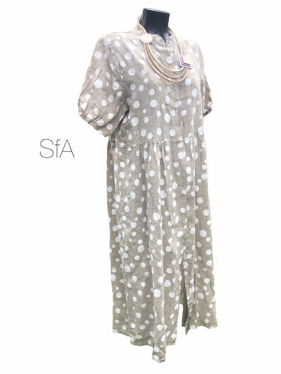 Lagenlook,  100% linen polka dot, spots dress, with short sleeves, in 4 coulors. Size 3XL