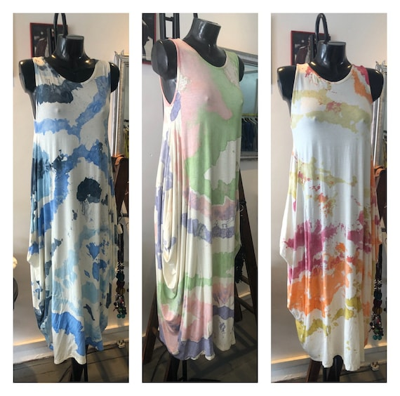 Lagenlook dress parachute sides, can be tied at the front. Ink print. Size 8 to 20 plus UK