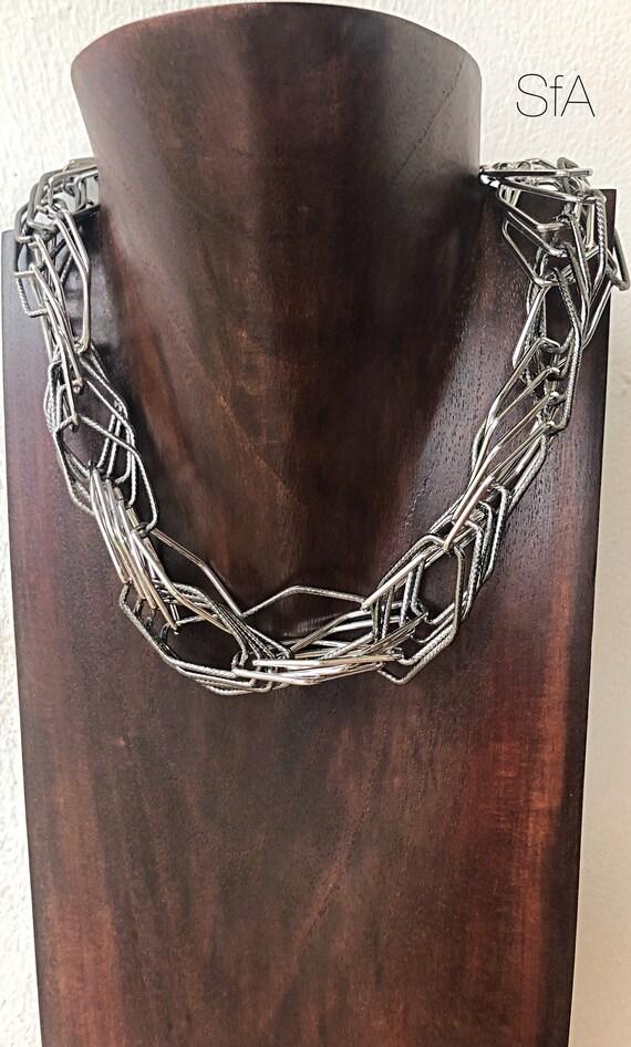 The Alisha geo multi tangled rhodium and gunmetal necklace, very lagenlook