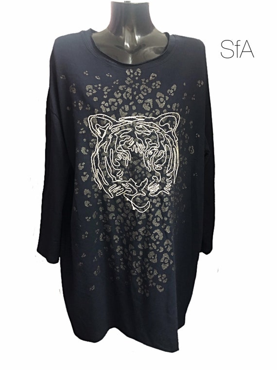 Lion, tiger tunic, dress. Super long thick tshirt size 12 14 16 18 20, Size 2XL