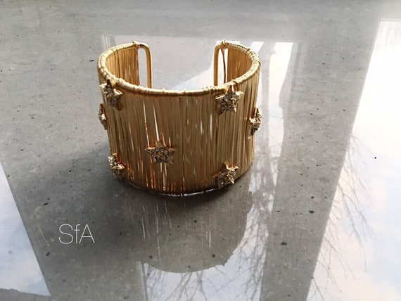 Stunning wide wire wrapped gold bangle cuff, with sparkling star design, gap opening.