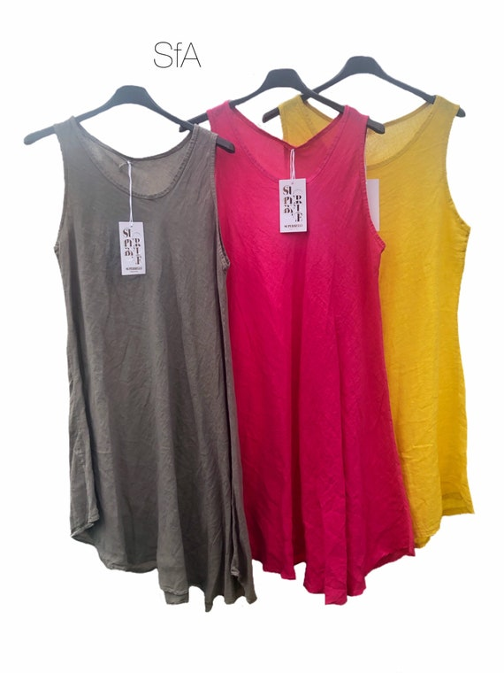 Lagenlook quirky linen tunic or dress, fit and flare, drops to one side, in 3 colours. Size XL4