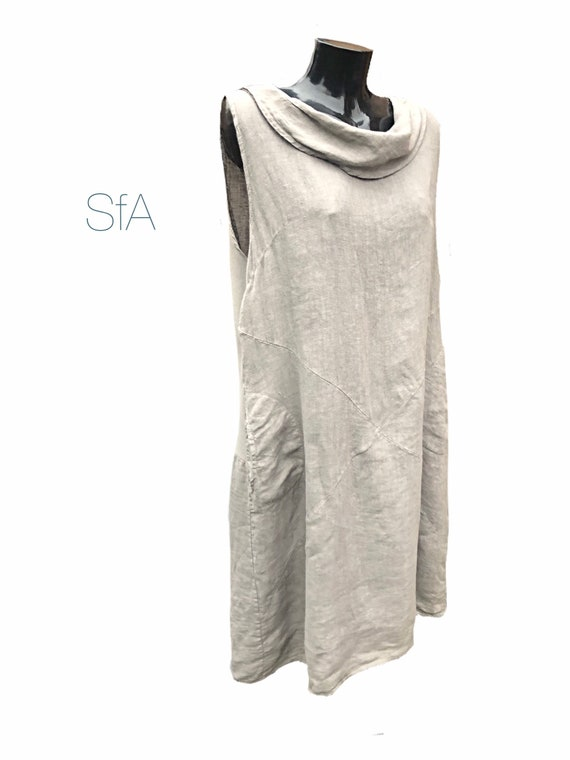 Lagenlook linen dress, with cowl neck. In 5 colours. Size 3XL