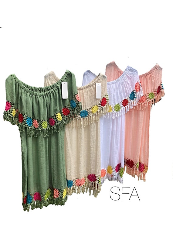 Hippy chic, boho, gypsy, bardot top, tunic, dress. Can be worn in 4 different ways. Crochet design with cotton cheescloth body.