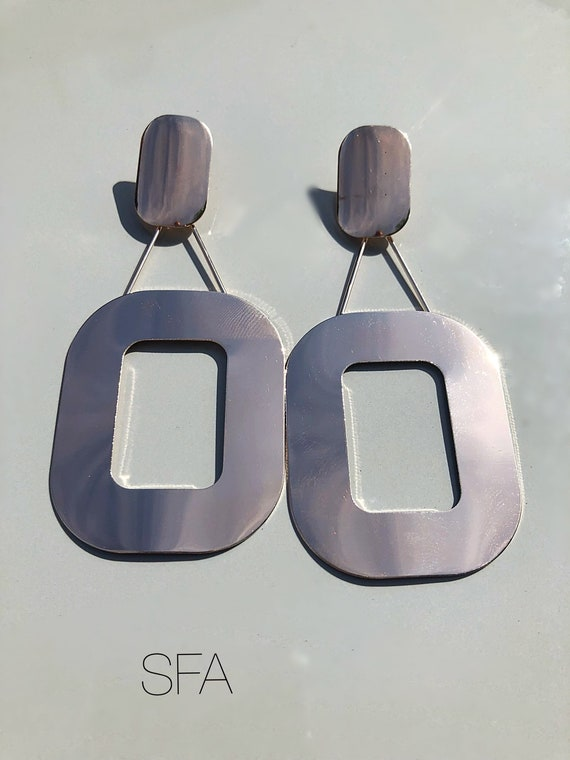 Lagenlook polished gold abstract earrings. With square and swing attached rectangle. For pierced ears.