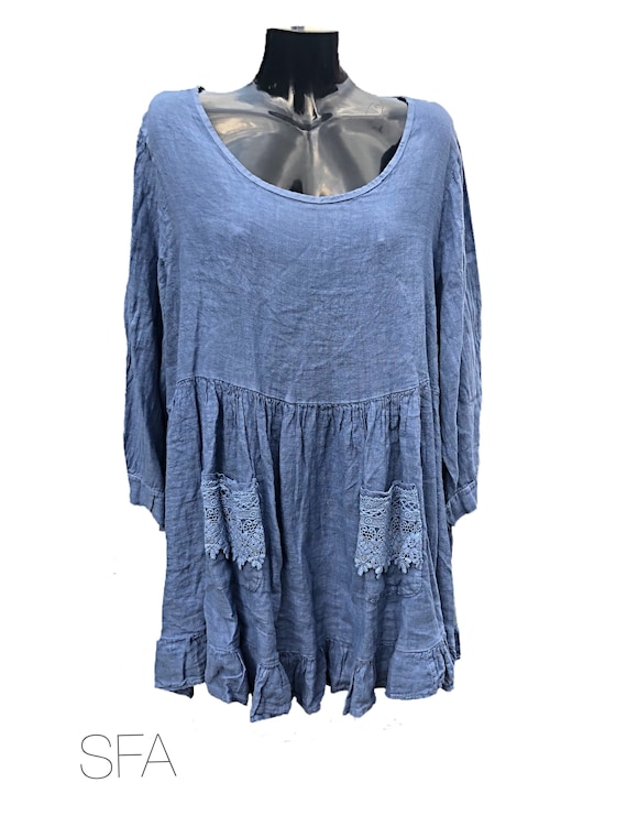 Lagenlook quirky style 100% linen top, smock or tunic, with linen bodice and linen frill. Size 4-5XL one size plus