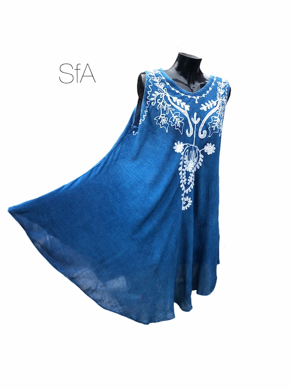 Rayon denim sundress, with white embroidered front panel. Size 12-22 UK 4XL