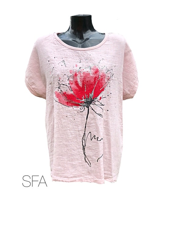 Lagenlook ladies red poppy tunic, with floral print, regular size. In white, pink or grey XL
